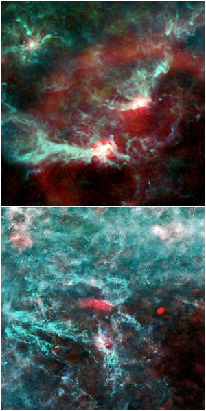 Le regioni di Orione (in alto) e Perseo (in basso) in un'immagine composta da tre dei nove canali di Planck (30, 353 e 857 GHz). Crediti: ESA/LFI and HFI Consortia