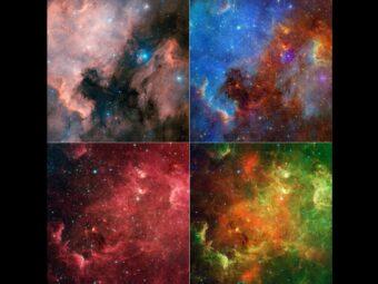 Questa composizione mostra come cambia l'aspetto della Nebulosa Nord America in base alle differenti osservazioni nella luce visibile e infrarossa. Image credit: Subaru/NASA/JPL-Caltech