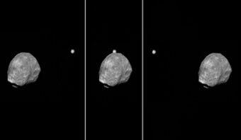 Allineamento Phobos Giove visto da Mars Express