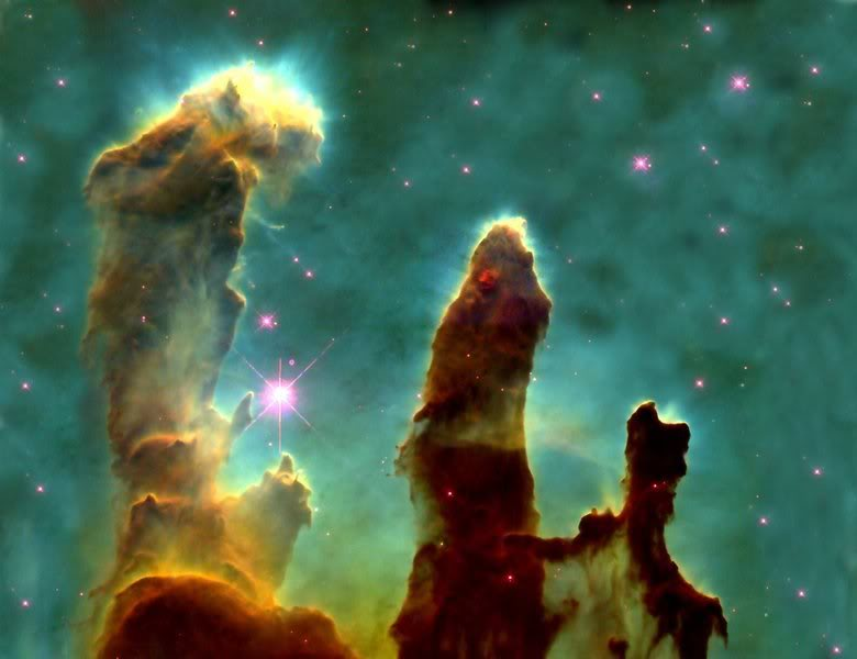 "La celebre immagine dei ""pillars of creation"" di Hubble(NASA/ESA)"