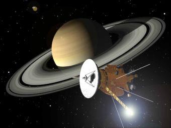 Rappresentazione artistica di Satruno con la sonda Cassini (NASA/ESA/ASI)