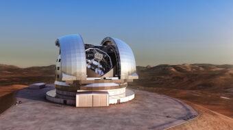 Visione artistica del telescopio E-ELT. Crediti: ESO/L. Calçada
