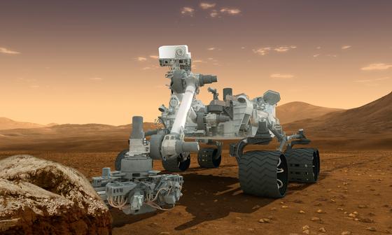 Una rappresentazione artistica di Curiosity sul suolo marziano (NASA/JPL)
