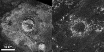 Sinlap (a sinistra) e Soi, due crateri di Titano, nelle immagini radar di Cassini. Il secondo è molto meno profondo del primo. Credit: Catherine Neish/NASA/JPL-Caltech/ASI/GSFC)