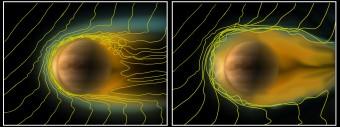 Confronto tra la ionosfera di Venere in due diverse condizioni del vento solare. A sinistra, quando la pressione è normale. A destra, invece, quando diventa pressoché assente. Le linee gialle indicano le linee del campo magnetico solare che interagiscono con la ionosfera. Crediti:  ESA/Wei et al (2012)