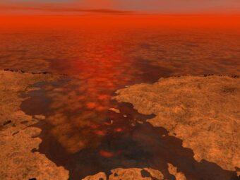 riproduzione di un artista dei ghiacci di Titano. CREDIT: NASA/JPL-Caltech/USGS