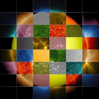 Un collage di immagini del Sole a varie lunghezze d'onda realizzate da SDO. Crediti: NASA/SDO/Goddard Space Flight Center