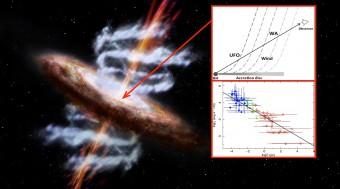 Rappresentazione artistica di un buco nero circondato dal suo disco d'accrescimento e avvolto dai venti di gas ionizzato. Nel riquadro superiore, un'illustrazione schematica della stratificazione del vento emesso dal disco di accrescimento, dagli strati più vicini al buco nero (BH) centrale, gli ultra-fast outflows (UFO), a quelli più lontani, i warm absorbers (WA). Nel riquadro inferiore, i dati raccolti dai telescopi X e utilizzati nello studio: i punti blu in alto a sinistra, ad alta ionizzazione e piccola distanza dal buco nero, corrispondono agli UFO; i punti verdi in basso a destra, a bassa ionizzazione e grande distanza dal buco nero, corrispondono ai WA. In verde gli assorbitori a ionizzazione intermedia.