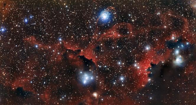 La nube incandescente Sharpless 2-296, parte della Nebulosa Gabbiano