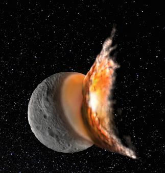 Ricostruzione dell'impatto da cui avrebbe avuto origine il cratere Rheasilvia su Vesta (credit: M. Jutzi)