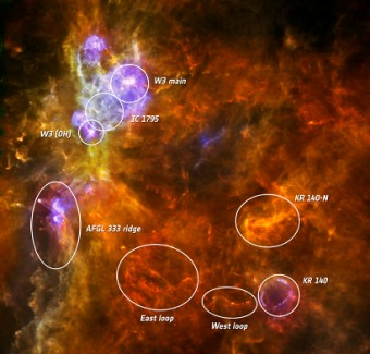 Il complesso stellare W3. Credit: ESA/PACS & SPIRE consortia, A. Rivera-Ingraham & P.G. Martin, Univ. Toronto, HOBYS Key Programme (F. Motte)