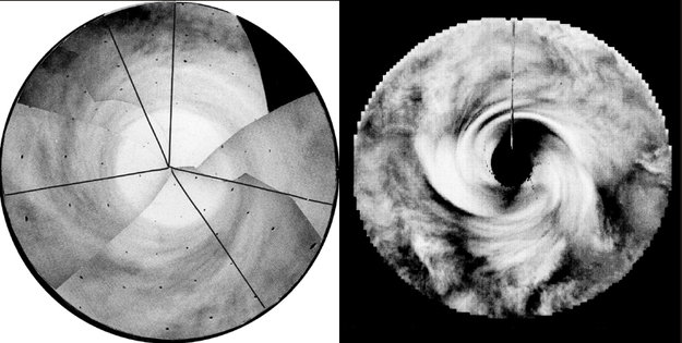 Immagini del polo sud di Venere riprese da Mariner (a sinistra) e Pioneer Venus, rispettivamente nei primi anni '70 e primi '80 (NASA)