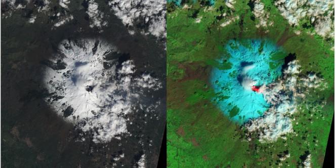 Le immagini dell'Etna scattate da EO-1 della NASA a poche ore dall'eruzione. L'immagine è del NASA Earth Observatory (Jesse Allen and Robert Simmon) dai dati dello strumento ALI.