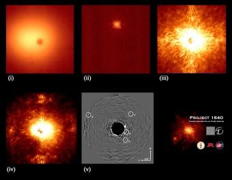 In queste immagini, il procedimento seguito per ottenere gli spettri. (i) il telescopio punta la stella: si può notare l'ombra del coronografo; (ii) viene attivato il sistema di ottica adattiva, e l'immagine diventa molto più nitida; (iii) la stella viene occultata dal coronografo e si dà inizio a un'esposizione di 5 minuti; (iv) viene calibrato il sensore di fronte d'onda, che permette la rimozione degli effetti dovuti a difetti delle ottiche; (v) i dati vengono processati da un algoritmo sviluppato ad hoc, ed emergono chiaramente i quattro pianeti.