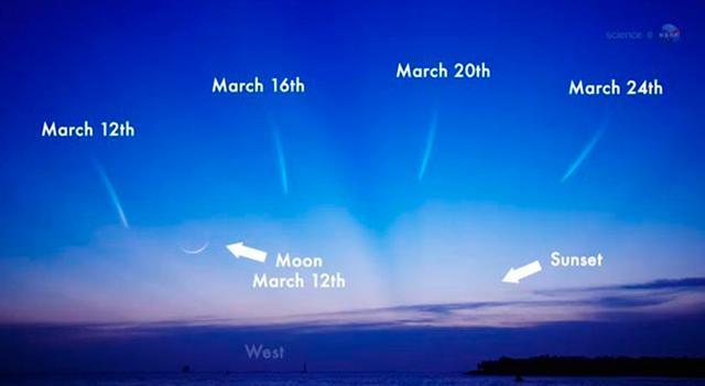 La posizione della cometa PANSTARRS nel cielo del tramonto nei prossimi giorni (fonte NASA)