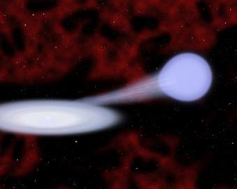 Illustrazione del presunto progenitore del nuovo tipo di supernova Iax: la stella calda composta prevalentemente di elio sulla destra cede materia alla nana bianca che lo ingloba in un disco di accrescimento. In molti casi la nana bianca sopravvive alla successiva deflagrazione. Crediti: Christine Pulliam (CfA)