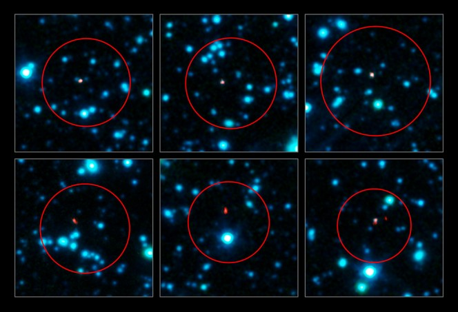 Crediti: ALMA (ESO/NAOJ/NRAO), APEX (MPIfR/ESO/OSO), J. Hodge et al., A. Weiss et al., NASA Spitzer Science Center