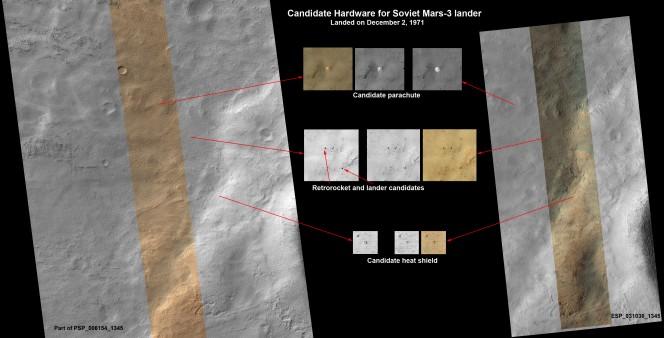 Il possibile lander Mars 3 identificato nelle immagini di MRO. Crediti: NASA / JPL / UA