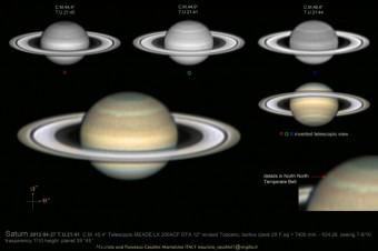 Immagine di Saturno realizzata nel 2012 da un telescopio amatoriale, pubblicata online nella raccolta di immagini della sezione Pianeti della UAI. Copyight Maurizio e Francesca Cecchini/UAI