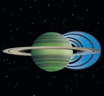 """Una rappresentazione dela """"caduta"""" di particelle d'acqua su Saturno dagli anelli (NASA/JPL/Space Science Institute)"""