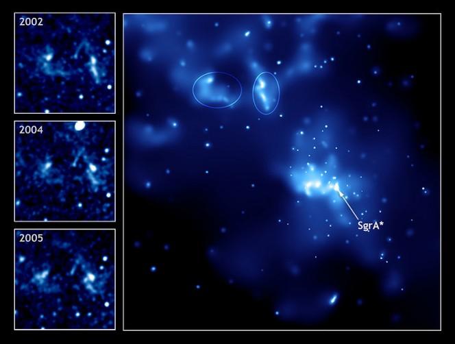 La regione Sgr A vers il centro galattico. Evidenziata la sorgente SgrA* [Credits: NASA's Chandra X-Ray Observatory])
