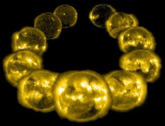 La corona del Sole durante l'ultimo ciclo (1996-2006).  Iota Hor percorre il suo ciclo coronale in solo 1.6 anni e la sua luminosita' in raggi X e' maggiore di quella del Sole.