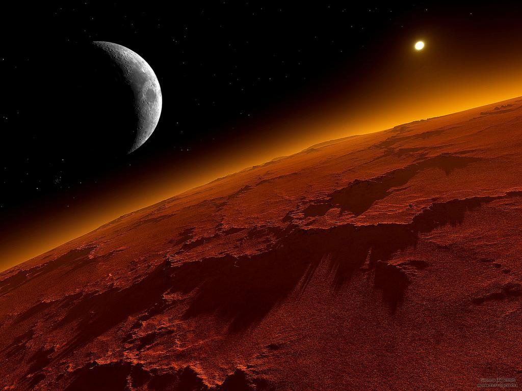 Marte e la sua luna Phobos