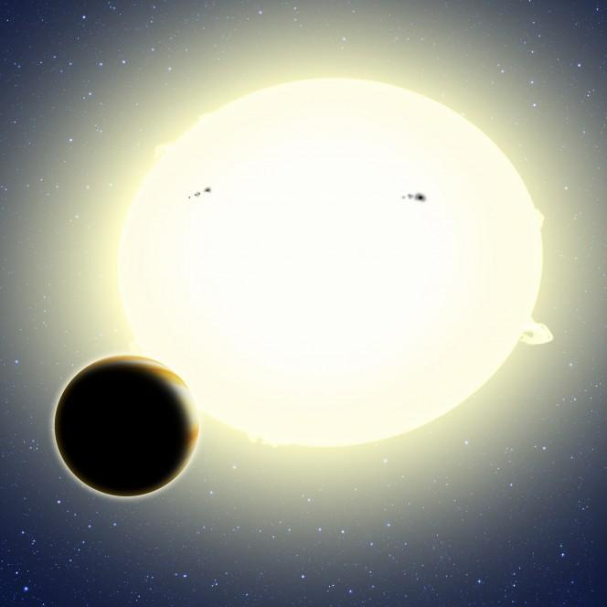 Impressione artistica d Kepler-76b con la sua Stella Madre ovalizzata per l'effetto stretching. Credit David A. Aguilar