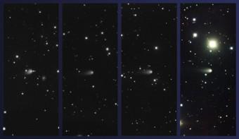 Le tre immagini a sinistra sono ottenute con un filtro r. La quarta combina filtri g, i, r. Credit: Gemini Observatory/AURA
