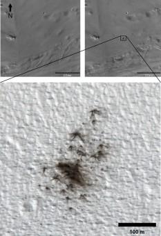 Le immagini riprese dalla camera HiRISE di MRO rivelano nuovi crateri da impatto formatisi tra il 2010 e il 2011. (Crediti: NASA/JPL-Caltech/MSSS/UA)