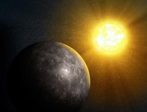 Riproduzione artistica di Mercurio inondato dai raggi solari.  CREDIT: Andrezej Wojcicki/SPL