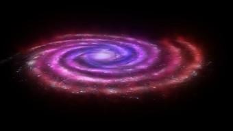 """La distribuzione del gas molecolare nella Via Lattea. In rosso, il gas """"CO-dark"""" rilevato da Herschel, localizzato soprattutto nell'anello compreso fra 13 e 36 mila anni luce dal centro galattico. Crediti: ESA - C. Carreau"""