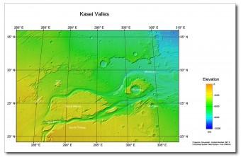 La topografia della zona, Crediti: NASA MGS MOLA Science Team