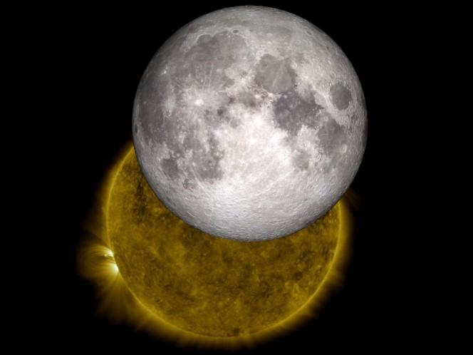 Una immagine della Luna che passa davanti al Sole realizzata con i dati di SDO e LRO. Crediti: NASA/SDO/LRO/GSFC
