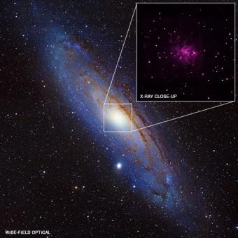 La Galassia di Andromeda al centro e nel riquadro in altro a desta i buchi neri presenti in essa. CREDIT: X-ray (NASA/CXC/SAO/R.Barnard, Z.Lee et al.), Optical (NOAO/AURA/NSF/REU Prog./B.Schoening, V.Harvey; Descubre Fndn./CAHA/OAUV/DSA/V.Peris)