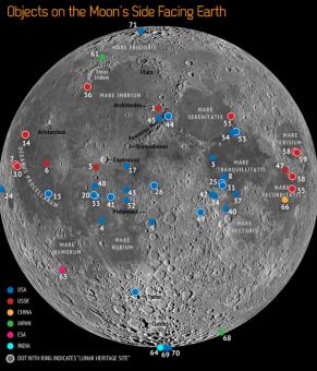 La mappa dei punti di allunaggio di tutte le missioni lunari (per la legenda vedi http://www.space.com/18905-moon-spacecraft-dumping-ground-infographic.html) Space.com