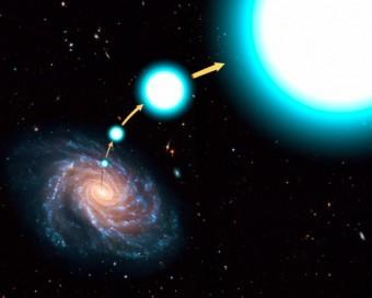 Rappresentazione artistica di una stella iperveloce in fuga dalla Via Lattea. Crediti: NASA