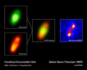 Il disco attorno a Fomalhuat osservato in diverse lunghezze d'onda dal telescopio Spitzer. Sono evidenti le asimmetrie nella concentrazione di polveri, che si potrebbero spiegare con la presenza di due pianeti.