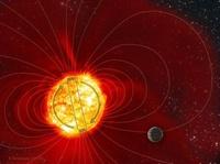 Rappresentazione artistica del campo magnetico di Tau Boötis.  Credit:Karen Teramura / University of Hawaii Institute for Astronomy