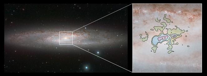 Questa immagine mette a confronto la veduta a raggi infrarossi dal telescopio VISTA dell'ESO (a sinistra) e la nuova rappresentazione dettagliata dei deflussi di gas freddo a lunghezze d'onda millimetriche vista da ALMA (a destra). Crediti: ESO/ALMA (ESO/NAOJ/NRAO)/J. Emerson/VISTA. Acknowledgment: Cambridge Astronomical Survey Unit