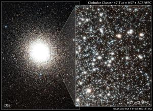 Immagine dell'antico ammasso globulare 47 Tucanae. L'immagine a destera in primo piano mette in risalto le migliaia di stelle dell'ammasso.  CREDIT: NASA, ESA, Digitized Sky Survey (DSS; STScI / AURA / UKSTU / AAO), H. Richer e J. Heyl (University of British Columbia), e J. Anderson e J. Kalirai (STScI))