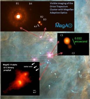 Tre dettagli della nebulosa di Orione rilevati grazie al sistema MagAO (crediti: Laird Close e Ya-Lin Wu)