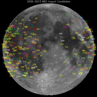I luoghi candidati a impatti lunari registrati dal Meteoroid Environment Office della NASA fra il 2005 e il 2013