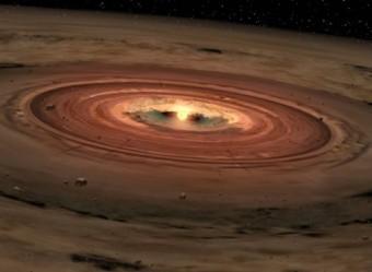 Rappresentazione artistica di una nana bruna avvolta nel suo disco protoplanetario in rotazione (crediti: NASA/JPL-Caltech)