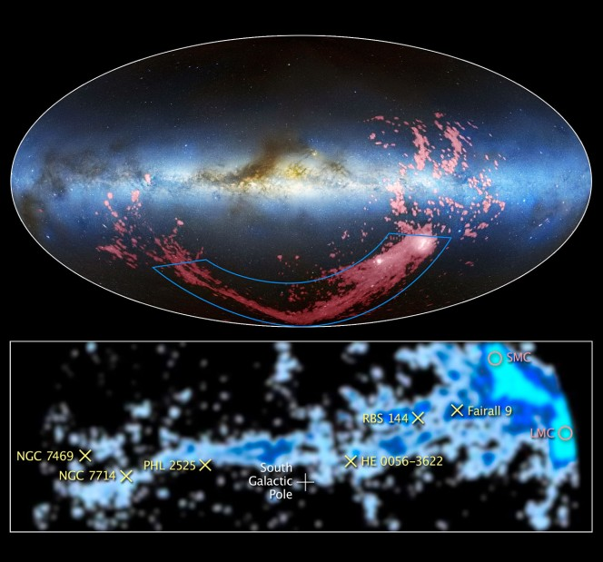 Credit for the radio/visible light image: David L. Nidever, et al., NRAO/AUI/NSF and Mellinger, LAB Survey, Parkes Observatory, Westerbork Observatory, and Arecibo Observatory.