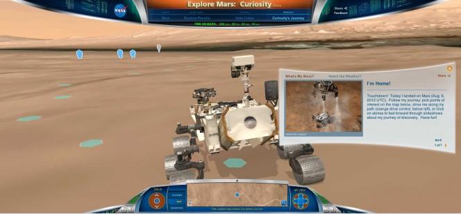 """Una schermata del gioco online della NASA per """"guidare"""" Curiosity sulla superficie di Marte. http://mars.jpl.nasa.gov/explore/curiosity/"""