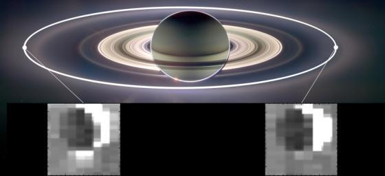 Un montaggio realizzato dalla Casisni di Saturno e della luna Encelado in due diversi momenti dell'orbita. Crediti: NASA/JPL-Caltech/University of Arizona/Cornell/SSI