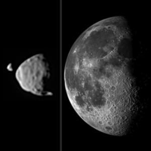 Le dimensioni apparenti in cielo della nostra Luna e delle due lune di Marte, Phobos e Deimos. Crediti: NASA/JPL-Caltech/Malin Space Science Systems/Texas A&M Univ.