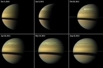 Immagini dell'attuale tempesta su Saturno riprese da Cassini in diversi periodi (NASA/JPL-Caltech/Space Science Institute)