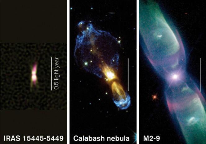 In questa immagine sono messi a confronto due oggetti molto antichi, come le nebulose protoplanetarie Calabash e M 2-9 mostrando come IRAS 15445-5449 (a sinistra) potrebbe evolvere in futuro. La striscia bianca indica l'unità di misura 0,5 anni luce. (Crediti: E. Lagadec/ESO/A. Pérez Sánchez; NASA/ESA & Valentin Bujarrabal; B. Balick, V. Icke, G. Mellema e NASA/ESA)